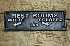 Cast Iron COLORED REST ROOMS Black AMERICANA L&N RAIL ROAD PLAQUE