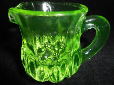 Green Vaseline glass child's toothpick holder tea Pitcher Uranium yellow creamer