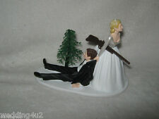 Wedding Party Reception ~Shot Gun~  Cake Topper Bride Dragging Groom Humorous