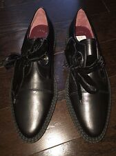 NEW MARC BY MARC JACOBS KENT CREEPER BLACK ROUND TOE OXFORD SIZE 39 VELVET $378