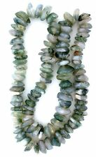 MOSS AGATE HEAVY FLAT NUGGET GEMSTONE BEAD 15 INCH STRAND 1/3 to 3/5 Inch SIZE