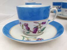 HAVILAND LIMOGES BLUE BAND HAND PAINTED FLOWERS ONE 1 TEA CUP SAUCER 9 available