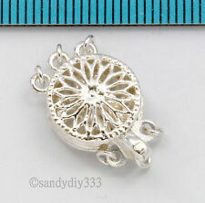 1x STERLING SILVER 3-STRAND CLASSIC FILIGREE ROUND PEARL BOX CLASP 11.6mm #1848