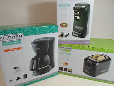 Set of Kitchen Can Opener 5 Cup Coffee Pot Maker and Toaster Black
