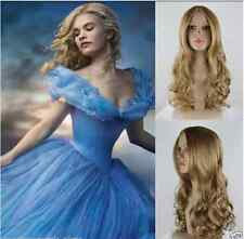 New Movie Princess Cinderella Wig Long Curly Ash Blonde Anime Cosplay Wig +gift