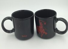 Pair of Black Cowboy / Western Marlboro Cigarette Coffee Mugs / Cups / Tobacco