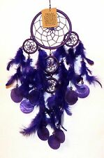 BEAUTIFUL 11.5cm PURPLE 5 WEB DREAMCATCHER WITH FEATHERS & SHELL DISCS**