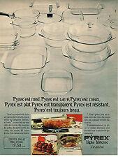PUBLICITE ADVERTISING 074  1969  PYREX  plats en verre ligne HOTESSE