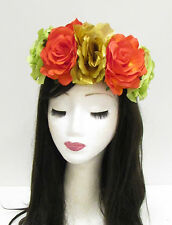Large Gold Rose Flower Sugar Skull Headband Halloween Big Day of the Dead 791