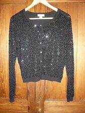 Monsoon, taglia 14: Luccicante Nero e sequin-covered Cardigan