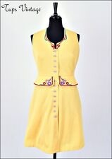 VINTAGE 60s YELLOW FOLK EMBROIDERED BUTTON DOWN MINI MOD SHIFT DRESS 12
