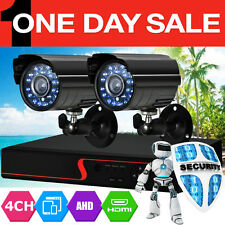 4CH HDMI Outdoor Video Wireless 2 CCTV DVR Cameras Home Security System Kit