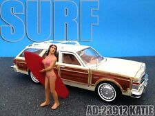 SURFER KATIE FIGURE FOR 1:24 SCALE DIECAST MODEL CARS BY AMERICAN DIORAMA 23912