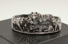 KABANA 925 STERLING SILVER ANIMAL DOG WOLF PACK FAMILY WILDLIFE BRACELET CUFF