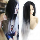 Fashion Women Long Straight Wig Hair Heat Resistant Black Ombre Grey 65cm