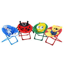 Set of 4 Kids Saucer Chair Moon Chair Folding Round Seat With Animal Prints New