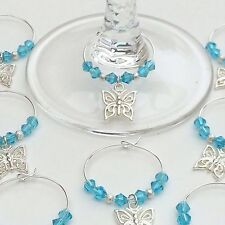 20 Aqua Crystal Butterfly Wine Glass Charms. Wedding Favours, Christening, Party