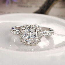 Fashion 17mm Bling White Gold Band Filled Girls Womens Engagement Ring Jewelry