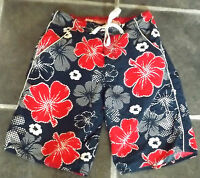 """MENS BOYS XS ACTIVE LONG BLUE RED WHITE FLORAL SWIMMING SHORTS WAIST 30"""" 76cm"""