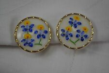 VINTAGE 1950s pair of white milk glass clip EARRINGS with blue flowers