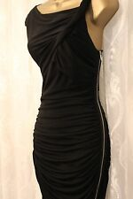 Karen Millen Twist Ruch Side Zip Slinky Drape Black Party Cocktail Dress 6 34