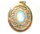 BEAUTIFUL GOLD TONED VINTAGE LOCKET NECKLACE PENDANT LIGHT BLUE CAMEO LADY G79
