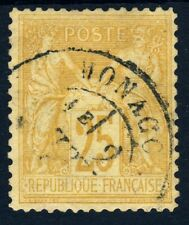 MONACO 1874-84 French P.O. Peace & Commerce 25c. Bistre/Yellow SG Z204 VFU