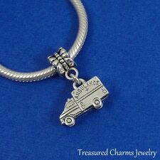 Silver AMBULANCE Dangle Bead CHARM Medic EMT Emergency fits EUROPEAN Bracelet