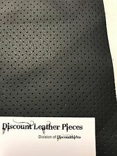 "Black Perforated Scrap Leather Cowhide Remnant 9.5"" x 12"" TP31"