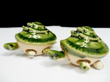 Pair -2x -Turtle 3 Stacked Long Life Charm Bobblehead Ceramic Green Figurine NEW