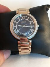 NEW WOMENS CITIZEN ECO-DRIVE EM0103-57X D'ORSAY DIAMOND ROSE GOLD STRAP WATCH-47