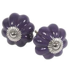6 x Vintage Floral Purple Ceramic Drawer Handles Pulls Cupboard Door Knobs
