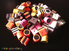 70 MIXED FIMO POLYMER CLAY LIQUORICE ALLSORTS BEADS - FREE AND FAST SHIPPING