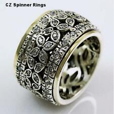On SALE Ring Size 6 CZ Zircons Spinner RING silver gold 9ct  MEDITATION rings