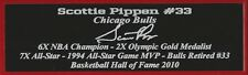 Scottie Pippen Autograph Nameplate Chicago Bulls Autograph Photo Ball Jersey