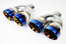 "Dual 4"" Quad Burn Style Stainless Steel Exhaust Tips Camaro Firebird Trans Am"