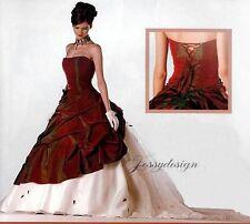 Sissi Corsagen Taft Brautkleid Bordeauxrot Organza Unterrock Rückenschnürung