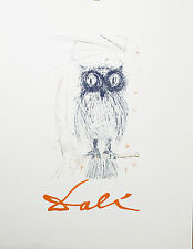 OWL Vintage Fine Art Lithograph by artist Salvador Dali 1968 - The Blue Owl