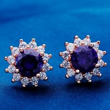 FLOWER DESIGN WEDDING ROSE GOLD Plated PURPLE Cubic Zircon Stud Earrings