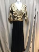 VTG 60s Black Velvet Skirt Gold Satin Wrap Bodice Hostess Maxi Dress
