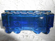 Blue Vaseline glass train box car uranium railroad RR art boxcar / cobalt circus