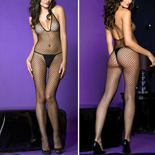 Black Fishnet Deep V-Neck Halter Crotchless Net Bodystocking Bodysuit Lingerie