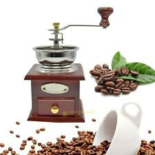 Home Manual Retro Coffee Bean Coffee Powder Grinder Mill Hand Crank Wood Iron