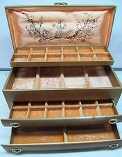 VINTAGE LADY BUXTON 4 TIER, 2 DRAWER JEWELRY BOX, GOLD