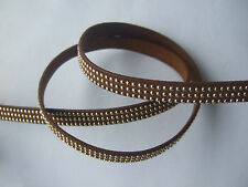 1 Meter Hight Quality 10mm Flat Rivet Brown PU Leather Cord For Jewellery Making