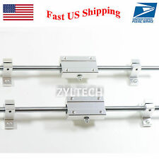 8mm 300 mm Hardened Shafts Rod Rail kit w/ Long bearing support 3D printer CNC