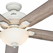 """Hunter 52"""" Cottage White Outdoor Ceiling Fan with Grey Pine Blades & Light Kit"""