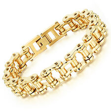 best gifts  Stainless Steel Gold Motorcycle bicycle Chain Bracelet Bangle 8.5''