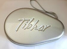 TIBHAR Carbon Round Table Tennis for 2 Racket  Bat Ping Pong Wallet Case Silver