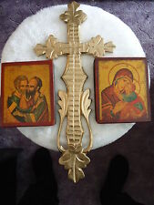 Virgin Kissing Child und Apostel Peter& Paul 1600 - russische Ikonen + Holzkreuz